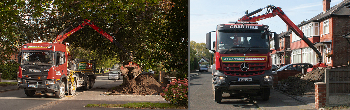 Grab truck delivering sand, gravel and collecting muckaway.